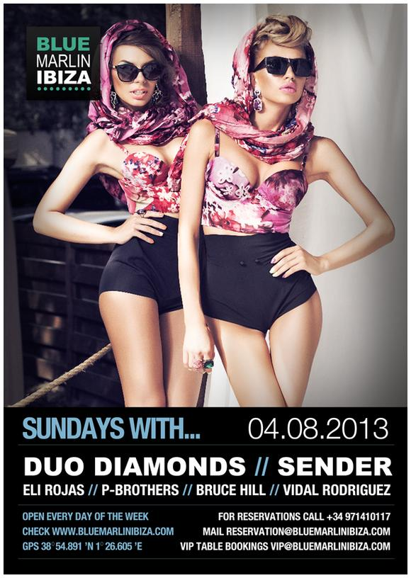 Duo Diamonds | Ibiza | Female djanes | Best Female DJs | Ibiza nightlife | Ukrainian DJs in Ibiza | Top Female DJs | Hottest DJ ever | Fashion TV | Bluemarlin Ibiza